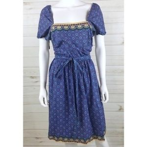 Vintage | Peasant Dress Boho Floral Batik 80s 70s